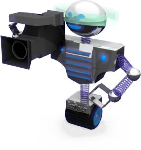 robot tenant une caméra à l'épaule