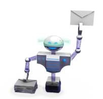 robot avec enveloppe dans la pince