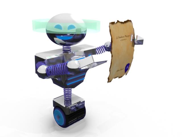 robot avec parchemin dans les pinces