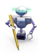 robot  avec stylo en or dans la  pince